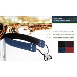BP CLARINET NECK STRAP PADDED LEATHER (various colours)